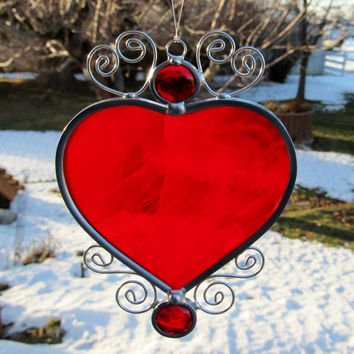 Stained Glass Heart Suncatcher Red Home Decor Window Hanging Glass Suncatchers Leaded Suncatcher