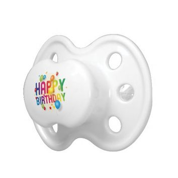 Happy Birthday Balloons Rainbow Pacifier