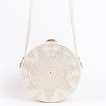 White Circle Rattan Straw Bag