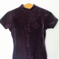 Vintage 1990s Purple Crushed Velvet Mock Neck Shirt