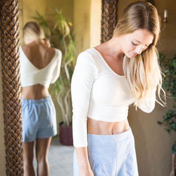 Blue And White Stripes Woven Short