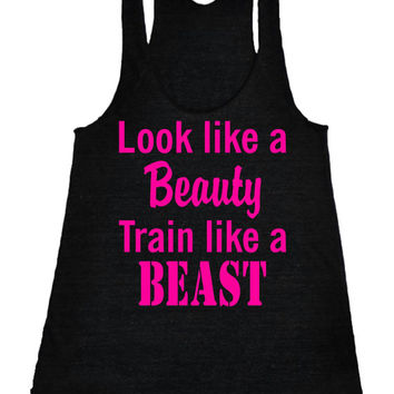 Look like a beauty train like a beast running Racerback Crossfit fitness Tank Motivational Workout Tank Top Gym Tank Black IPW00008