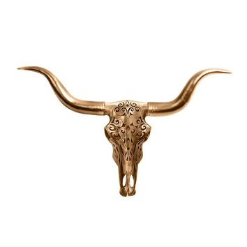 The Carved Austin | Large Carved Longhorn Cow Skull | Faux Taxidermy | Bronze Resin
