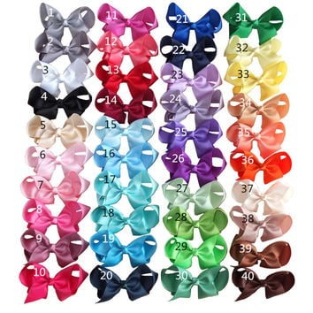 4 inch Hair bow Hair clips Children Girl hair accessories Boutique grosgrain ribbon hairbows Hairpins Dancing hair bow 40PCS/LOT