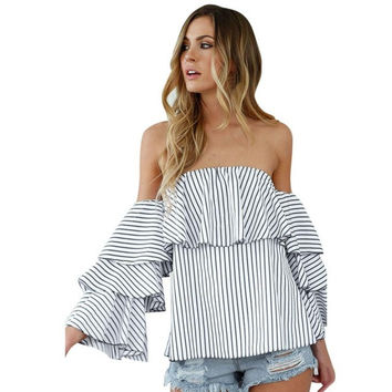 New Flare Sleeve Blouses Women Off Shoulder Striped Long Sleeve  Beach Shirt Blouse women tops camisetas mujer #23 GS