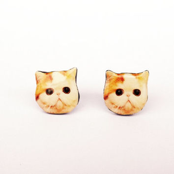 Cat stud earrings, Stud earrings, Ear stud, Cat earrings, Cat jewelry, Animal earrings, Animal jewelry, Tiny earrings, Cat lover