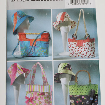 Butterick Tote bag Pattern purse handbag summer hats new uncut four styles