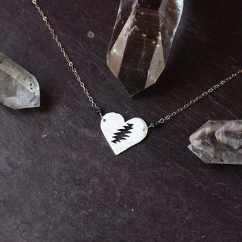 Steal your Heart necklace / raw black diamonds/ Grateful Dead / jerry garcia / dead head / Valentine's Day / heady phish / silver jewelry