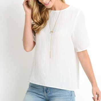 Button Back Top, Ivory