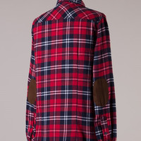 Elbow Patch Plaid Flannel - Red/Navy