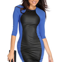 Royal Blue Two Tone Sexy Body Con Dress