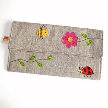 Fabric pencil case, or case for sewing accessories and crochet hooks. Pink flower, bee and ladybird design. Handmade in Lincolnshire, UK.