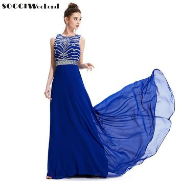 SOCCI 2017 Royal Blue Chiffon Long Evening Dress O-neck Cross Back Formal Wedding Party Gowns Robe de Soiree Longue Prom Dresses