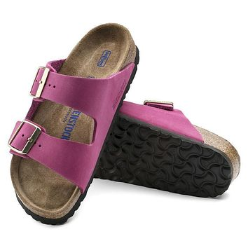 Birkenstock Arizona Soft Footbed Nubuck Leather Pink 1011257 Sandals