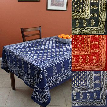 Handmade Dabu Hand Block Print Cotton Rectangular Tablecloth 60 x 90 inches Blue Green Red