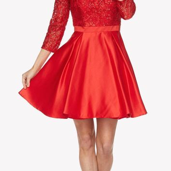 Lace Sequins Top Mid-Length Sleeves A-Line Short Prom Dress Red
