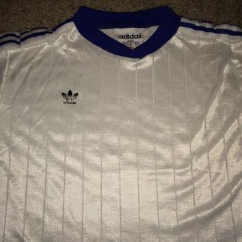 Sale!! Vintage 1980s ADIDAS Polyester white Activewear Shirt Soccer Jersey Football Ma