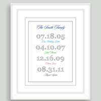 8x10 Important Special Dates Art Print Family Birthday Children Baby Birth Custom Gift