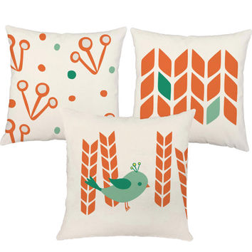 Set of 3 Modern Bird Throw Pillows - Summer to Fall Pillow Covers With or Without Inserts - Summer/Fall Bird Print, Harvest Print, Birdie