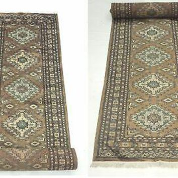 Brown Diamond Medallions Bokhara Runner ingenuity Hand-Knotted Rug 3 x 16 Rug