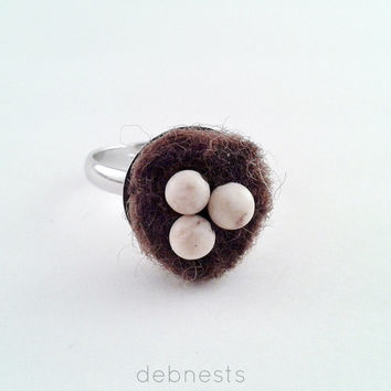 Bird Nest Ring, Brown Felt Nest, Sunbleached Jasper Beads with Adjustable Band