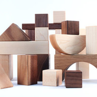 20 piece organic wooden blocks  all natural by SmilingTreeToys