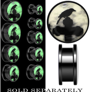 Black Raven on Cross Glow in the Dark Screw Fit Plug in Black Anodized Titanium