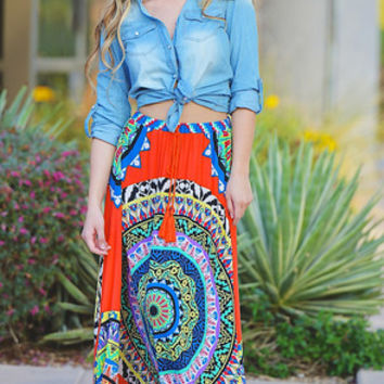 Monte Carlo Maxi Skirt - Orange