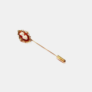 Vintage Stick Pin / AVON Gold Cameo Pearl Stick Pin Stickpin Brooch / Costume Jewelry