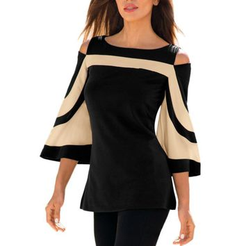 Women Blouse Black White Colorblock Bell Sleeve Cold Shoulder Top 2018 Mujer Camisa Feminina Office Ladies Clothes P40-3