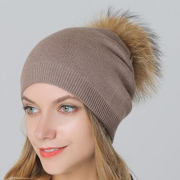 15cm Original Mink Fur Pompon Hats Caps for Women Winter Wool Knitted Skullies & Beanies with Plus Raccoon Fur Ball Fashion Cap