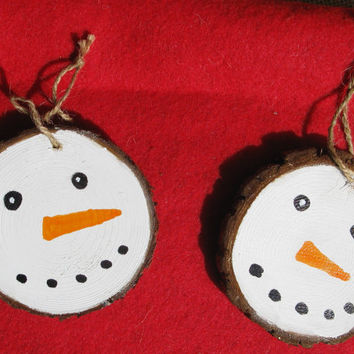Snowman Wood Slice Christmas Ornament Christmas Snowmen
