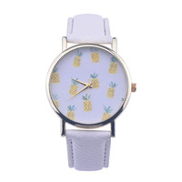 Fashion Pineapple Leather Watch +Gift Box-86