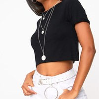 Basic Black Roll Sleeve Crop T Shirt