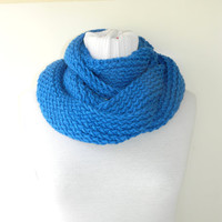 Knitted infinity Scarf. Block Infinity Scarf. Loop Scarf, Circle Scarf, Neck Warmer. Blue Crochet Infinity
