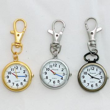 Retro Round Women Quartz Pocket Watch with Free Chain Pendant Key Ring Men Gift Simple Watches Silver Gold Brown Watch GL52