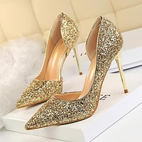 Glitter High Heel Pump / Gold