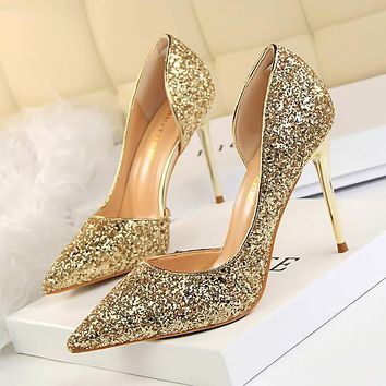 Glitter High Heel Shoes Sexy Gold Silver