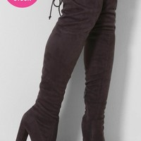 Antibes Grey Suedette Over The Knee Boots