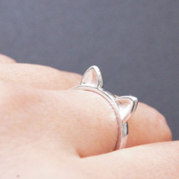 925 Sterling Silver cat ring, adjustable cat ears ring