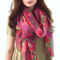 Rose Printed Scarf, Summer Floral Scarf, Woman Fashion Scarf, Spring Scarf, Gift for Her