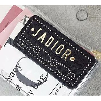 Dior Tide brand rivet wristband female iPhoneX Max mobile phone case cover Black