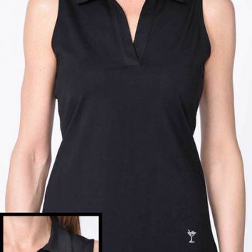 79e82f06adec8 Golftini Ladies   Plus Size Sleeveless Cotton Mesh Collar Golf Polo Shirts  - Black