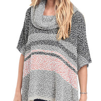 Back To Cool Oversized Cowl Neck Poncho Sweater