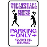 "7""x10"" 1mil thin plastic volleyball chick novelty parking sign for indoors or outdoors"