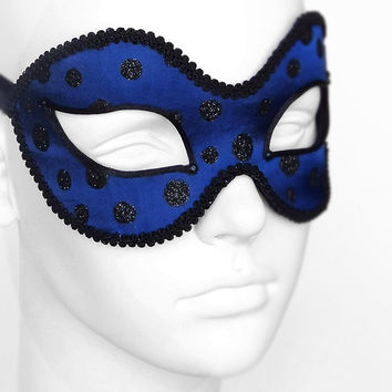 Navy Blue And Black Glitter Masquerade Mask - Polka Dot Venetian Style Mardi Gras Mask