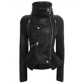 Gothic Jackets Women Autumn Black Fashion Slim PU Leather Coats Steampunk