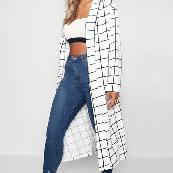 Plus India Windowpane Check Duster | Boohoo