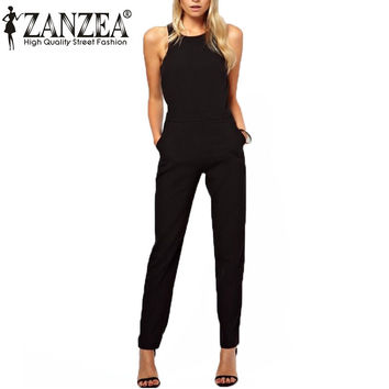 Summer Thin Rompers Women Jumpsuit Casual Elegant Black Zipper Hollow Sleeveless Long Playsuits Plus Size Overalls