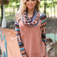 Oasis Cowl Neck Top Brown